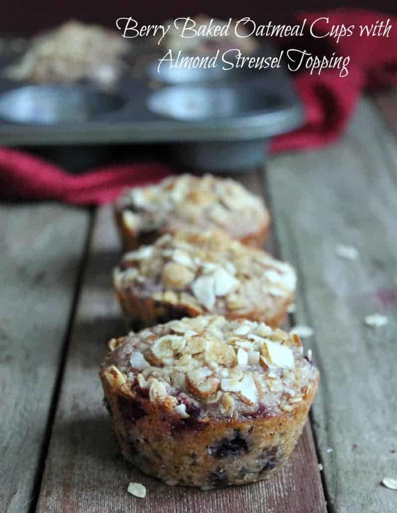 Berry Baked Oatmeal Cups with Almond Streusel Topping 249 calories and 7 weight watchers points plus