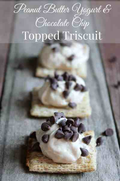 Peanut Butter Yogurt & Chocolate Chip Topped Triscuit