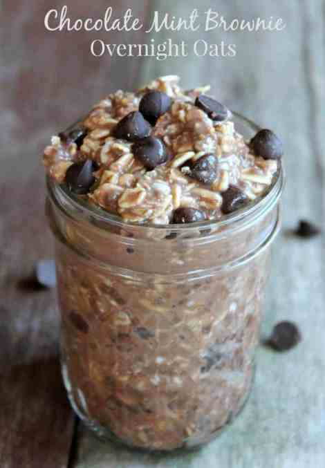 Chocolate Mint Brownie Overnight Oats 303 calories 8 weight watchers points plus