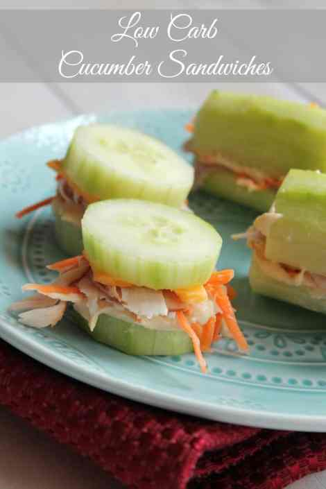 Low Carb Cucumber Sandwiches  71 calories and 2 weight watchers points plus