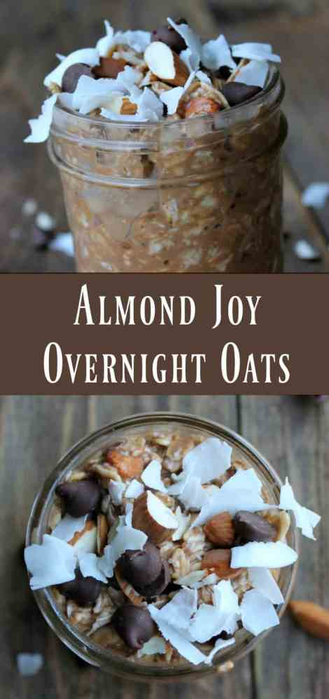 Almond Joy Overnight Oats. Chocolate, almonds, and coconut stirred into creamy oats. YUM!