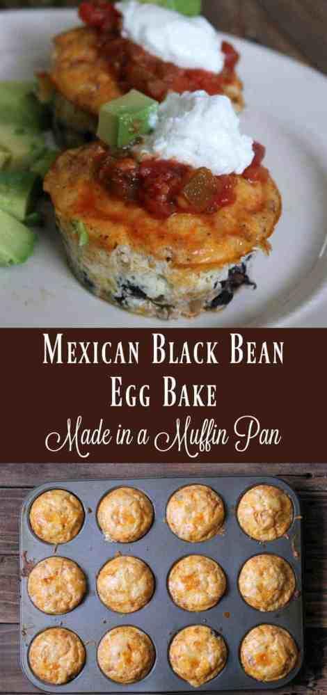 Mexican Black Bean Egg Bake make in a muffin tin. Healthy breakfast recipe