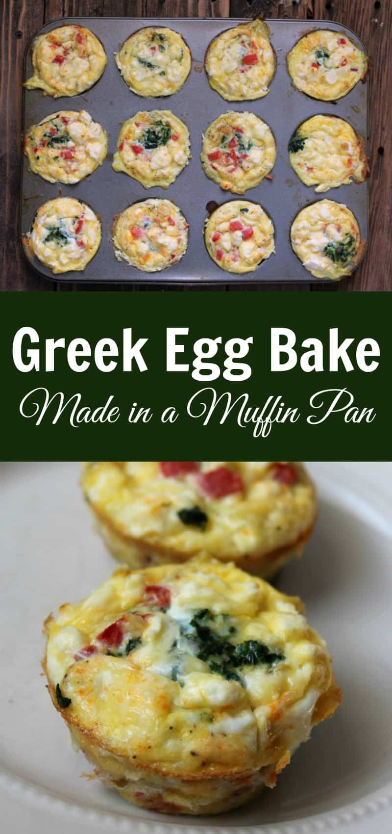 Make-ahead greek egg bake made in a muffin pan