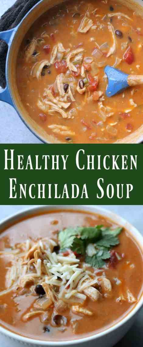All the delicious Mexican-inspired flavors found in a classic chicken enchilada created into a comforting lightened-up soup.