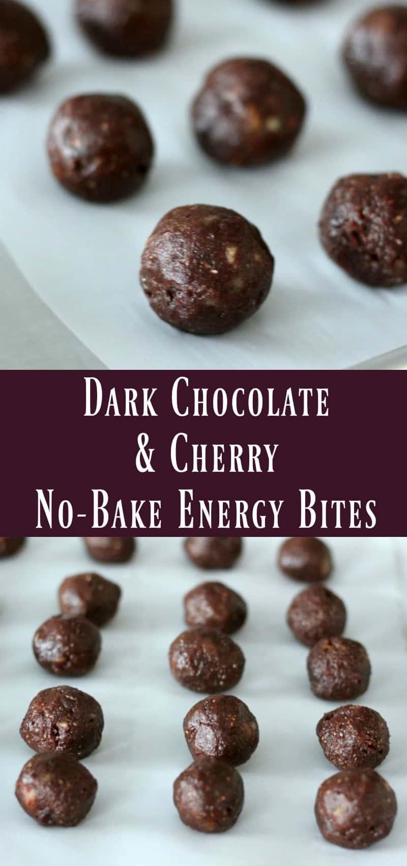 Dark Chocolate and Cherry No-Bake Energy Bites
