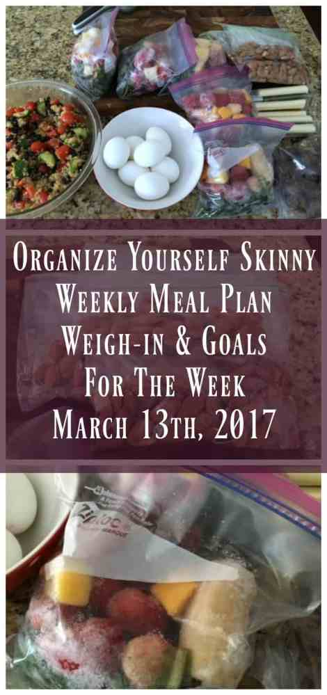 weekly meal plan weigh-in and goals for the week