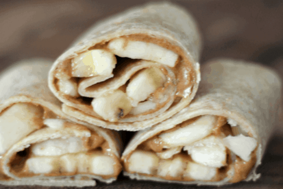 Almond Butter and Banana Snack Wraps