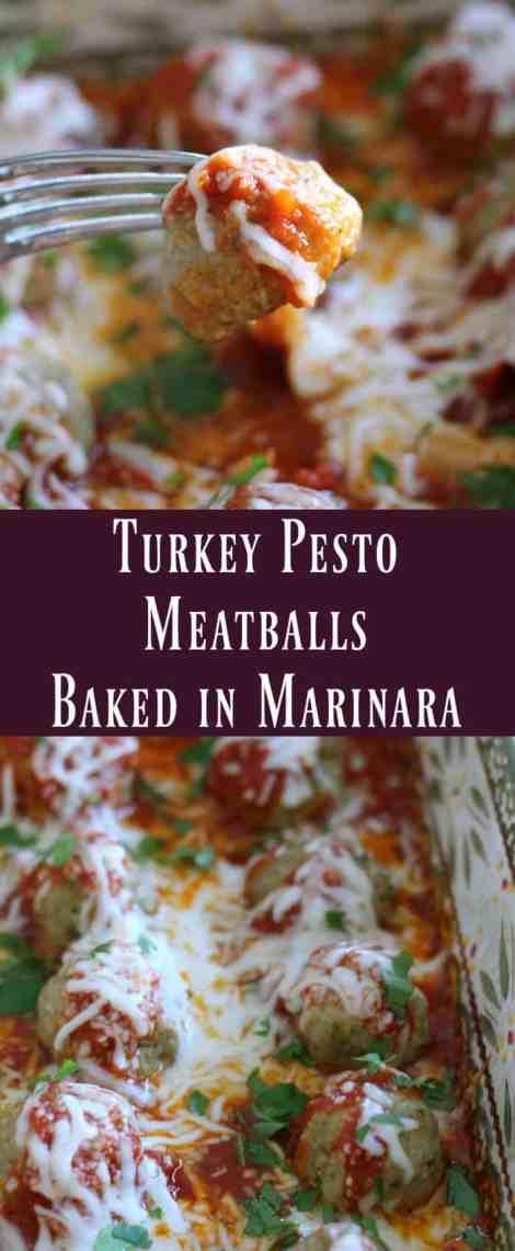 Turkey Pesto Meatballs Baked In Marinara