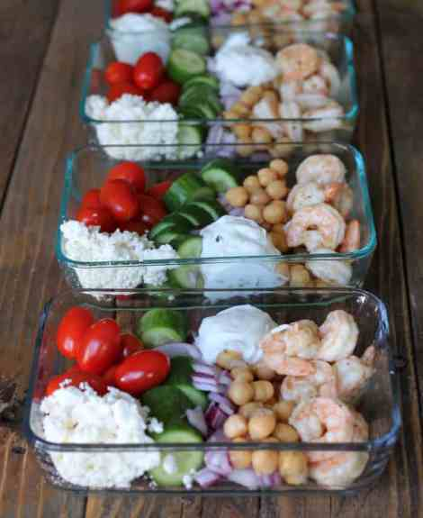 20 Make Ahead Camping Recipes For Easy Meal Planning: Make-ahead Greek Shrimp Meal Prep Bowls