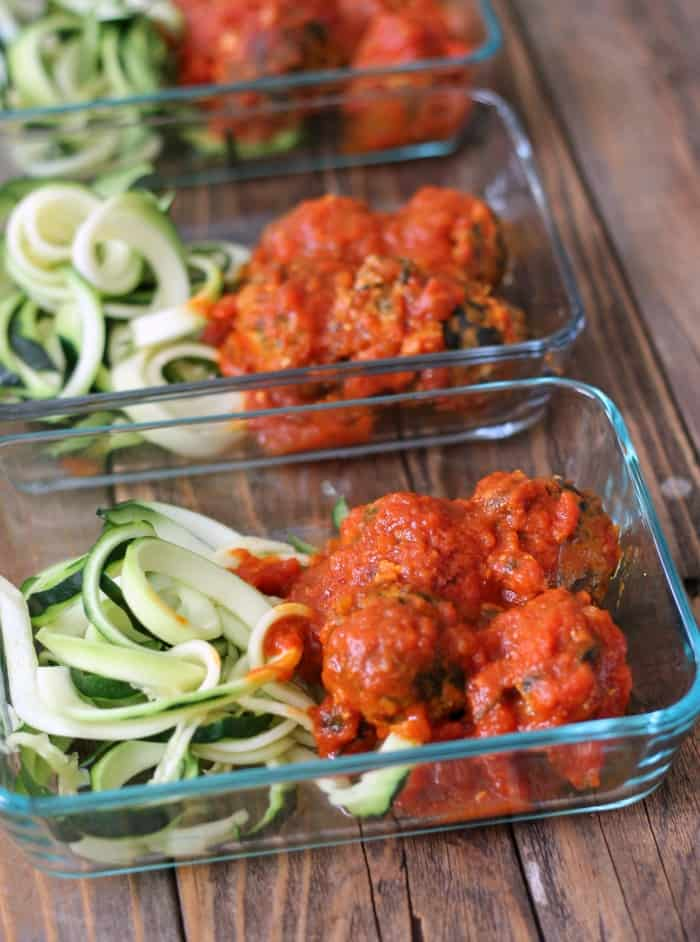Spinach and Feta Turkey Meatballs with Zoodles