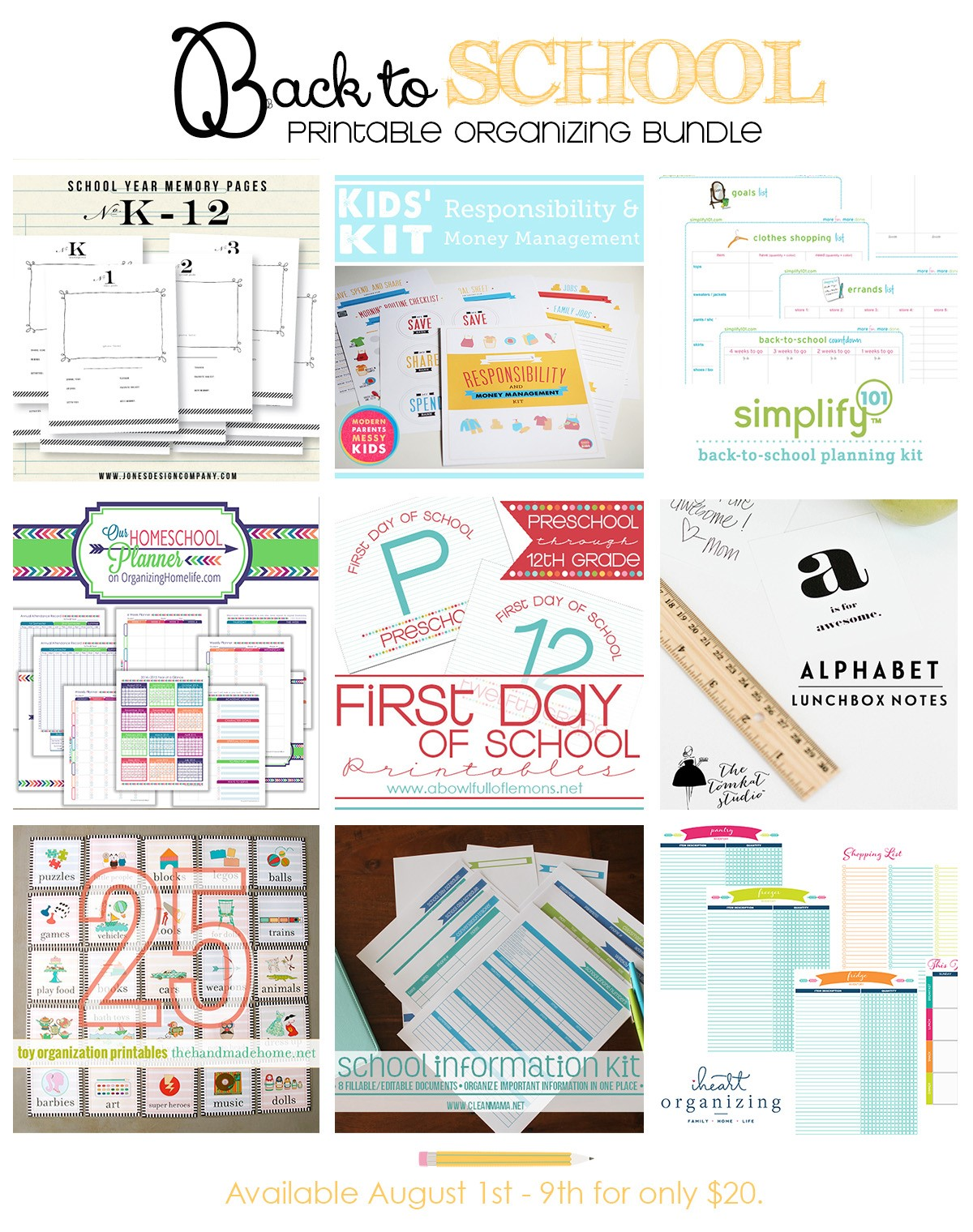 Back To School Organizing Printables Bundle By 9 Top Notch Bloggers 1 Week Only
