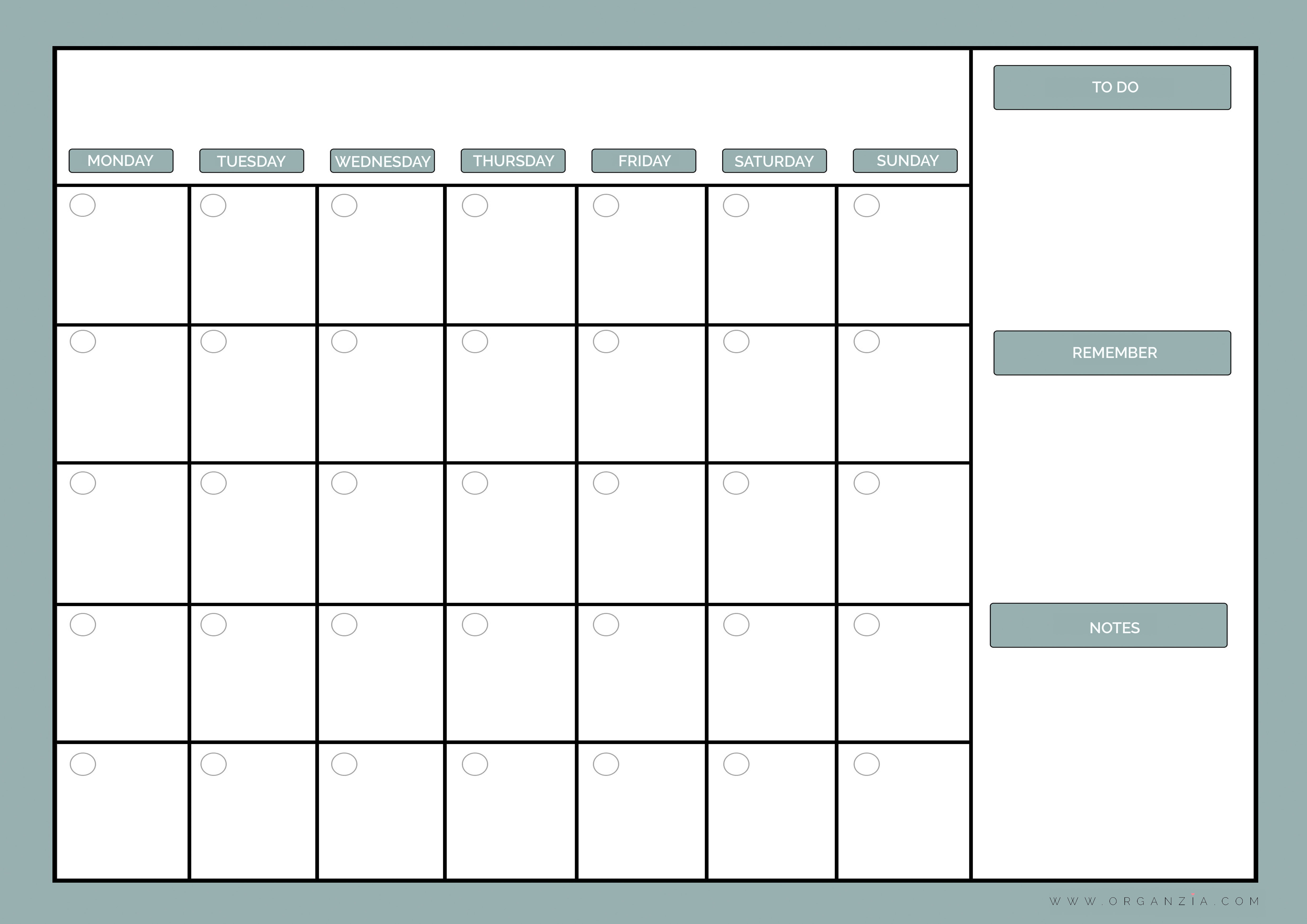 Monthly Rota Template | planner template free
