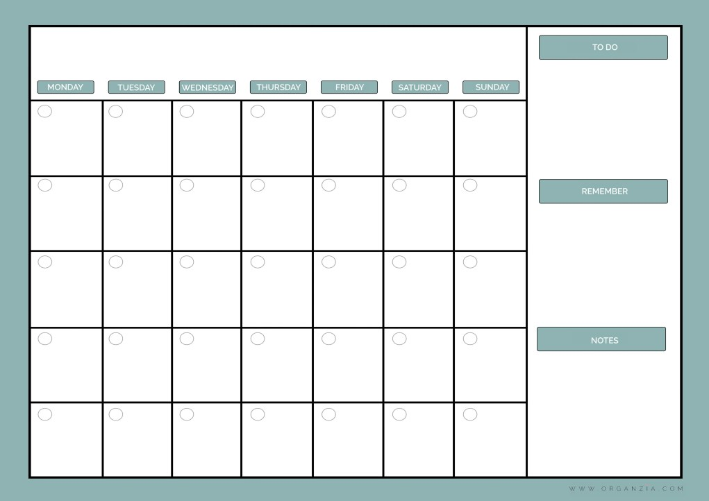 This is a photo of Ridiculous Printable Monthly Planner