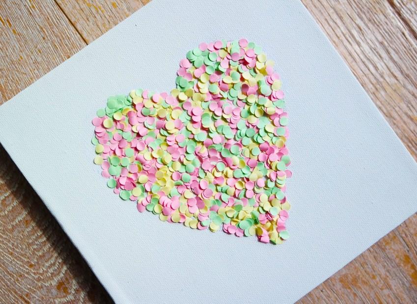 DIY confetti wall art - heart