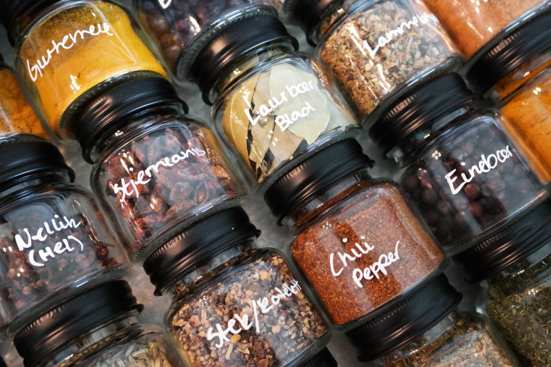 Organized spice drawer - close up