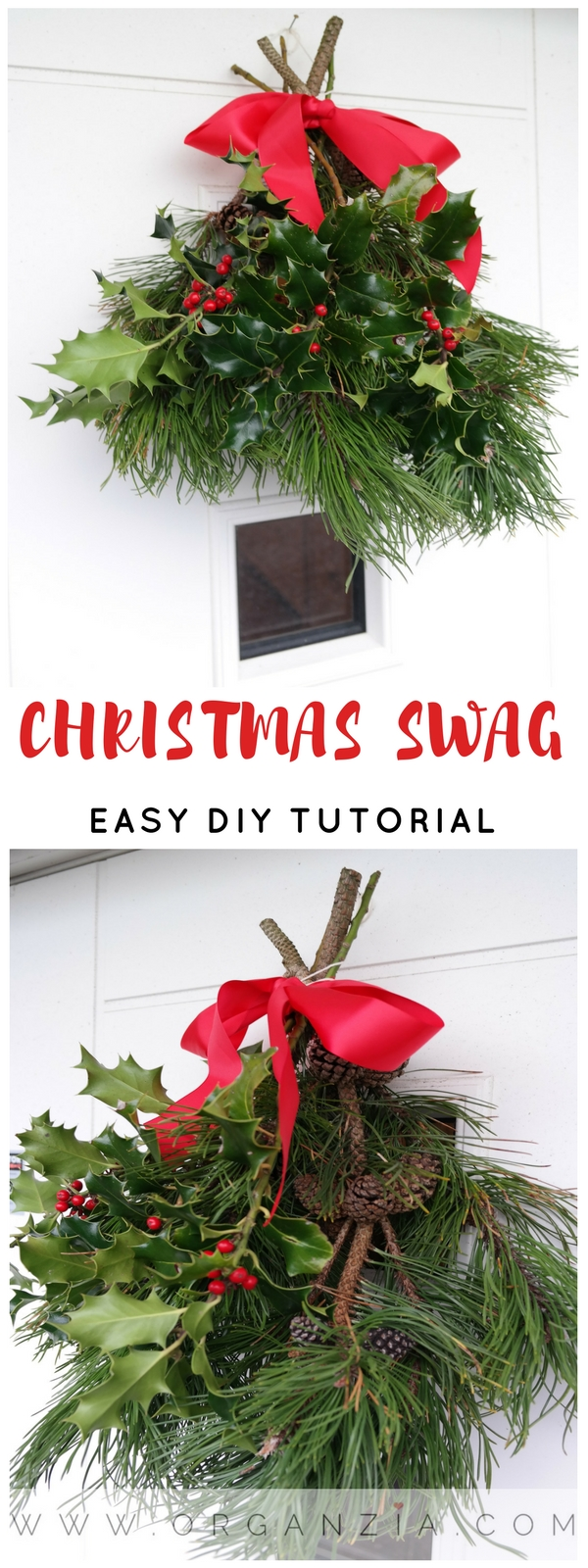 DIY Christmas Swag,easy front door decoration