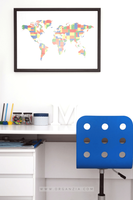 Desk and map picture hanging on wall