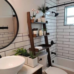 Storage ladder perfect for a small bathroom space