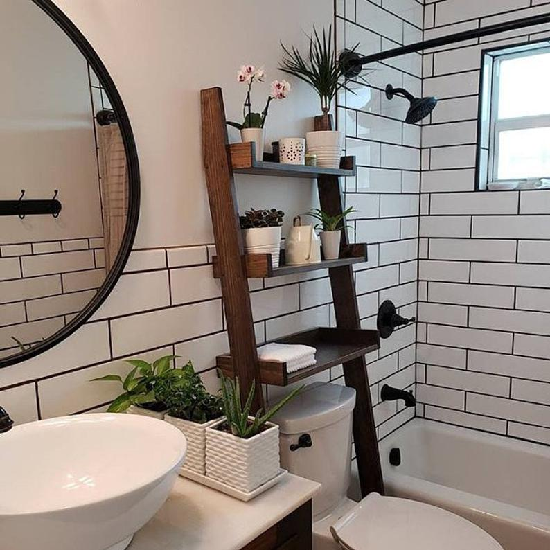 Storage ladder perfect for a small space organization idea for the bathroom