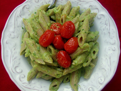Creamy Avocado Pasta with Roasted Grape Tomatoes