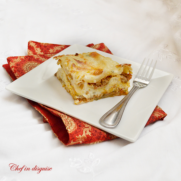 Four cheese lasagna by Sawsan at chefindisguise.com