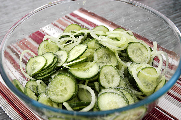 salted cucumber slices for bread and butter pickles