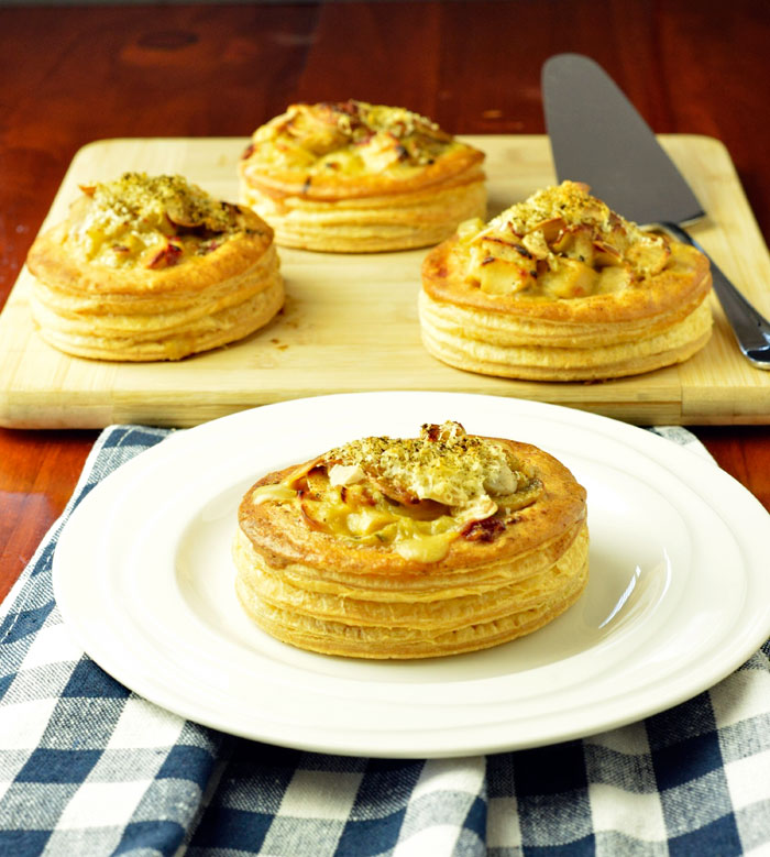 Vol au vents with warm chicken salad