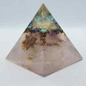 Hope Eternal Turquoise Orgone Orgonite Pyramid 6cm - Sacred Geometry times two! Turquoise, Friggen beautiful Lapis Lazuli, over brass and then two opposite pointed clear Quartz points, for cardinal point alignment