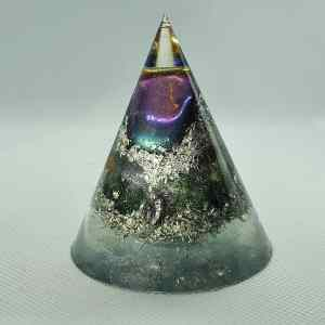 Wondrous Rainbow Orgone Energy Orgonite Cone 6cm