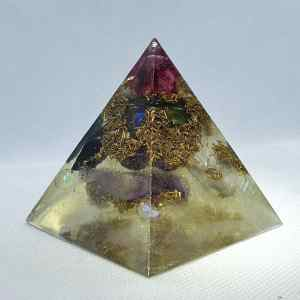 Four Seasons in One Year Orgone Orgonite Pyramid 6cm - Titanium Aura Quartz rainbows of goodness, 4 cardinal points of Rose Quartz, Tourmaline, Clear Quartz and Amethyst all with purple quartz and brass to complete