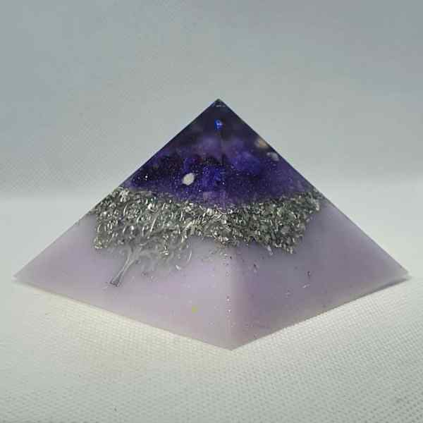 Tree of Life Orgonite Pyramid Giza 8cm   Amethysts, Moonstones, Lapis Lazuli and Celestite for uber protection! Herkimer Diamonds all wrapped up in silver and Tourmaline chunk for that strong protection, Tree of Life Sacred Geometry.