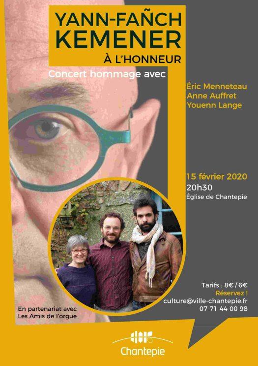 Concert-hommage à Yann-Fañch Kemener le samedi 15 février à 20h30 à Chantepie