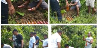 Kapolres Mamberamo Raya, AKBP. Aleksander Louw,SH, memimpin penggrebekan miras yang dikubur di dalam tanah di Alang-alang atas Kampung Kasonaweja, Sabtu, (14/9/2019).