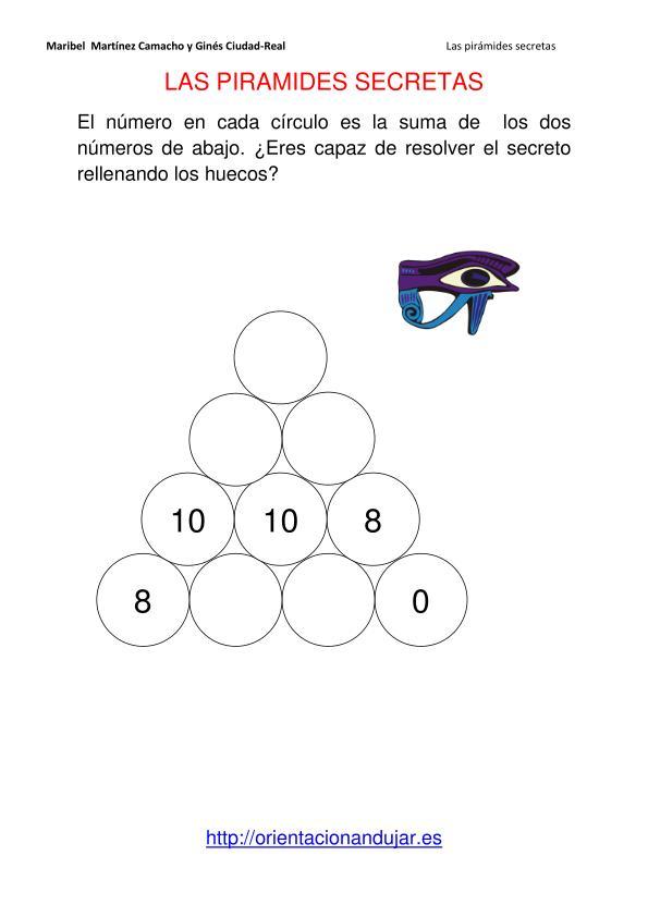 Matematicas primaria. Piramides secretas rellenamos huecos sumas ...