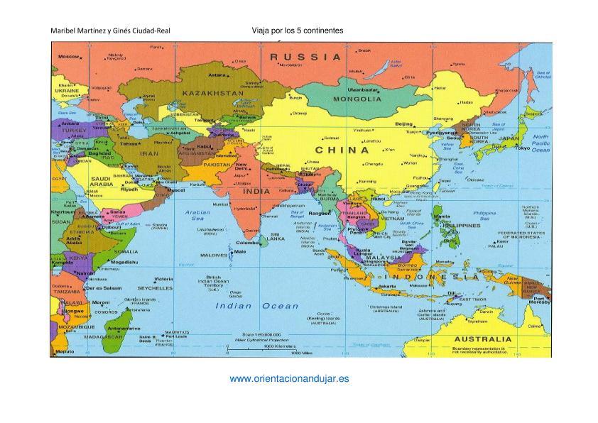 Viaja por los cinco continentes Los pases y sus capitales