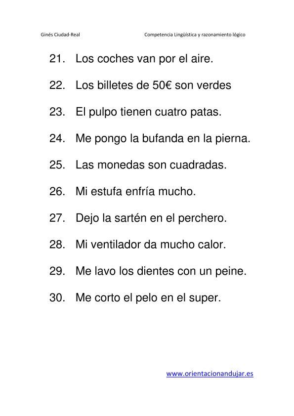 30 Nuevos absurdos en Frases para Primaria Nivel Inicial ...