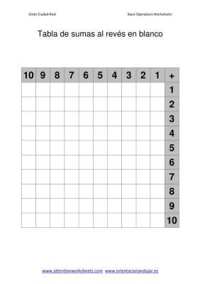 Tabla de sumas al reves en blanco