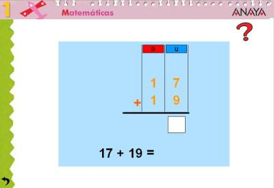 Sumas de 2 sumandos dos cifras CON  llevada