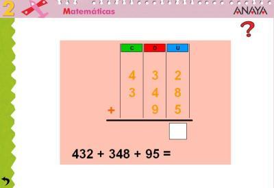 Sumas de 3 sumandos tres cifras con llevada