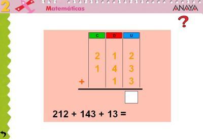 Sumas de 3 sumandos tres cifras sin llevada