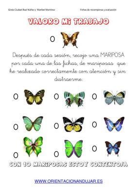 fichas de recompensa mariposas imagen