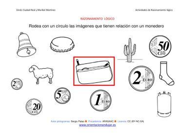 RAZONAMIENTO  LÓGICO categorizar y agrupar objetos monedero ByN imagenes