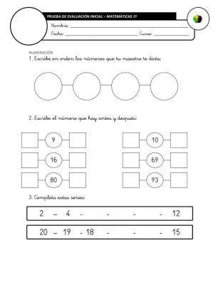 Evaluación Inicial Matemáticas 2º IMAGEN