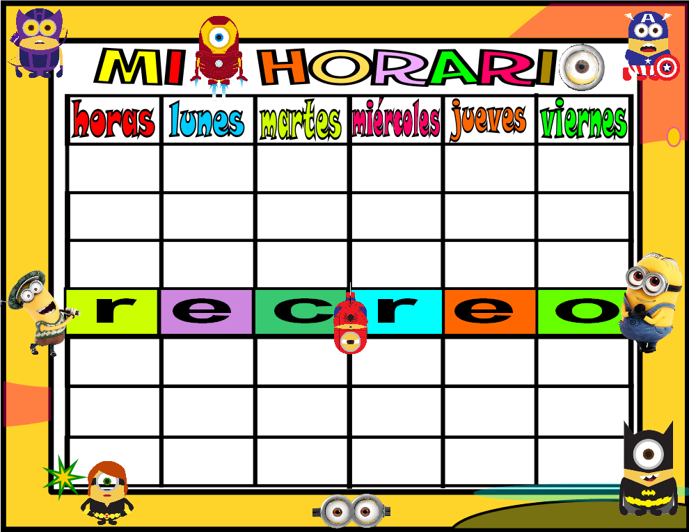 horario 6 HORAS-3 minions