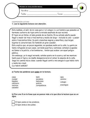 Evaluación Inicial Lengua 6º IMAGEN