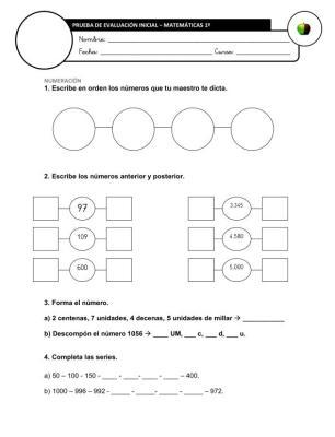 Evaluación Inicial Matemáticas 4º IMAGEN