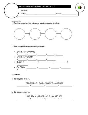 Evaluación Inicial Matemáticas 5º IMAGEN