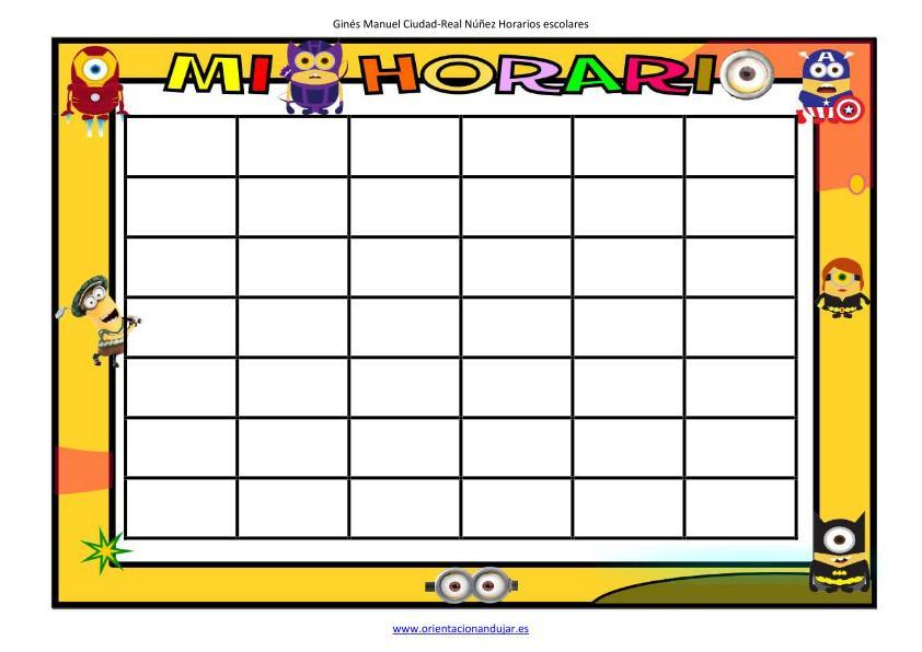Plantillas para horarios divertidos en WORD. Hazte tu horario ...