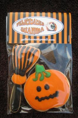 GALLETAS DE HALLOWEEN decoradas CALABAZA ESCOBA terminada