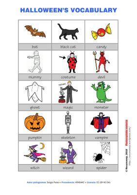 vocabulario en pictogramas halloween a color IMAGEN